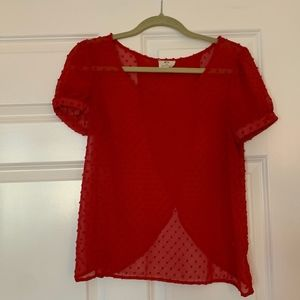 Sheer Red Blouse with Open Back